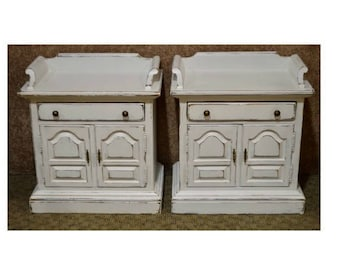 Pair of Ethan Allen Cottage Style Distressed Nightstands