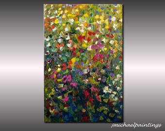 Impressionism Abstract Wildflower Flowers Palette Knife Painting on Canvas Contemporary Flowers Colorful Vivid Landscape 36x24 JMichael