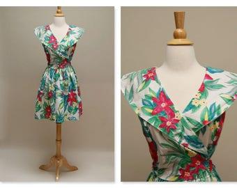Vintage Floral Dress 1980s Short Cotton Dress Summer Surplice Shawl Collar Jumper Mini Dress