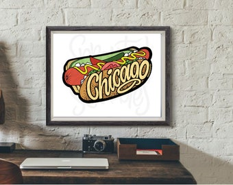 Chicago Hot Dog Art Print, Shipping Included (U.S.), 8 x 10
