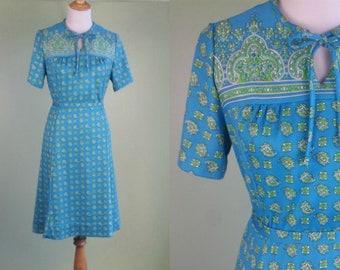 1960s Paisley Print Dress- Vintage 60s Day Dress - Large