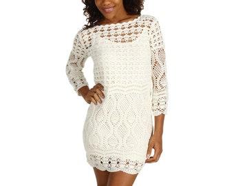 Cotton mini dress 25 colors, Crochet dress, Summer Dress, Crochet Bridal dress, Wedding dress, Boho Wedding dress, White crochet mini dress