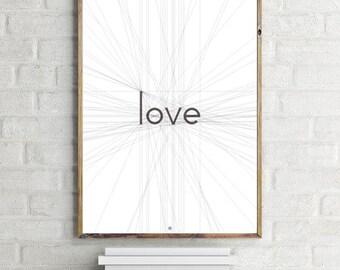 Love, Love Print,  Geometric Print Art, Black and White, Minimalism Print, Scandinavian, Modernist Home Decor