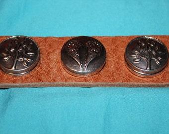 Leather 3 Snap Button adjustable Bracelet/ Free Snap Buttons