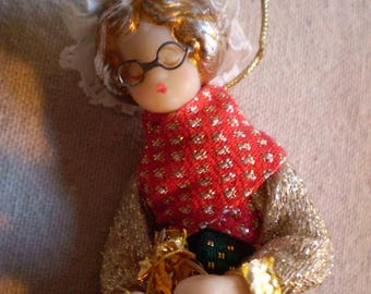 Vintage Koestel West German Christmas Ornament Wax Doll Granny Knitting