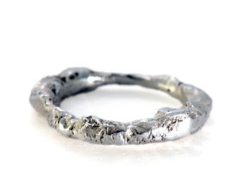 Sterling Silver Molten Ring with an Organic Texture, Made of Recycled Silver, Organic ring, Rough silver ring