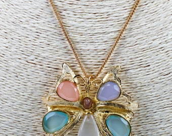 Gold-plated silver butterfly necklace and pendant with rock crystal, agates, chalcedony, quartz and tourmaline