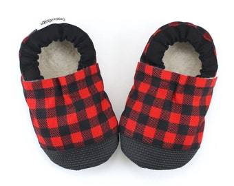 buffalo plaid baby shoes rubber sole shoes red and black booties rubber toe soft sole shoes lumberjack baby shoes lumberjack plaid booties