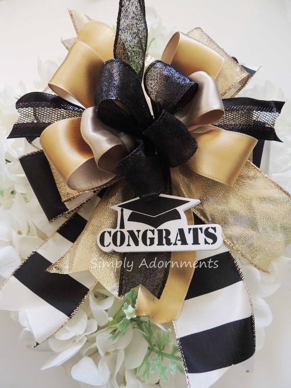 Black Gold Ivory Graduation Party Decor Black gold Grad Celebration Decoration Party Decor Black Gold Wreath Bow Door hanger Graduation Bow