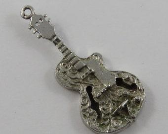 Guitar Sterling Silver Vintage Charm For Bracelet