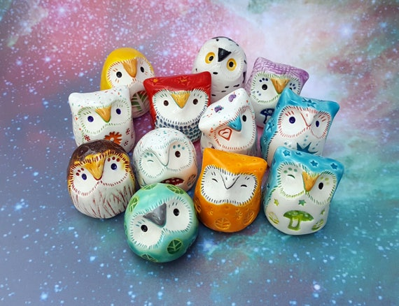 Miniature Ceramic Owls Three Surprise Owls Gift Wrapped