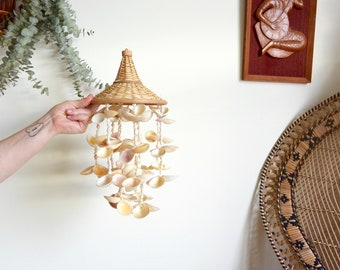 Vintage Hanging Sea Shells and Wicker Basket Mobile / Chandelier / Wind Chime