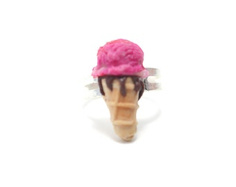Strawberry Ice Cream Ring, Miniature Food Jewelry, Polymer Clay Food Jewelry