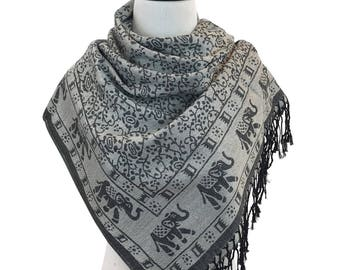 Pashmina Scarf Grey Scarf Pashmina Shawl Gift For Her Fashion Accessories Mothers Day Pashmina Scarves Women Scarf