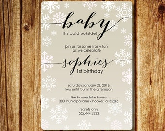 Baby It's Cold Outside Birthday Invitation; Snowflake First Birthday Invite