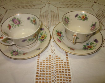 2 Demitasse Cup and Saucer set Old Ivory Syracuse China Selma Pattern