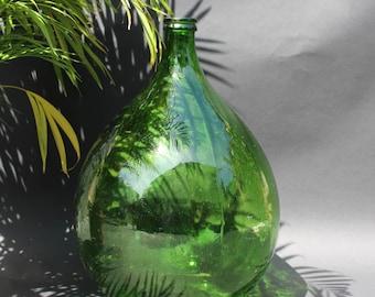 Extra Large Dark Green Vintage Carboy, Demi- John, Wine Bottle