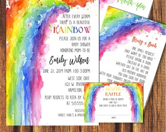 Invitation kits etsy rainbow baby shower invitation kitdiy baby showerbaby shower rainbow filmwisefo Gallery