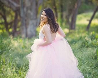 Pink Full length tulle skirt with lining , maternity skirt, photo prop, adult tulle skirt, Wedding skirt, bridal skirt
