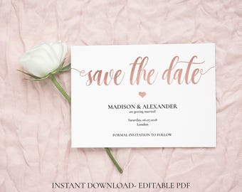 Save the Date template, Rose Gold Save the date PDF, Printable Save the date, Save the date cards , Save the dates wedding, Invitation PDF