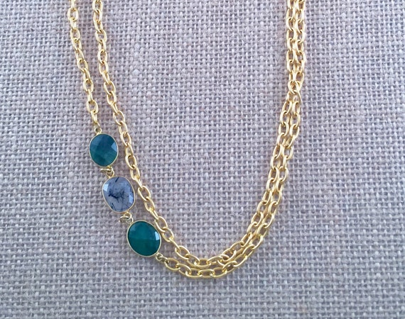 "Emerald and Rutile Link Chain Necklace - 22K gold plated - 42"" long - Double Wrap - Long - Layer - SINTRA 1"