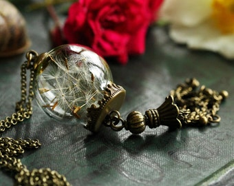 Dandelion seed necklace , make a wish , real dandelion seeds, tassel necklace, good luck , dandelion bottle , good luck charm  #E10