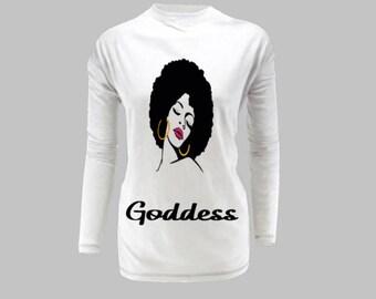 Goddess long sleeve female shirt.