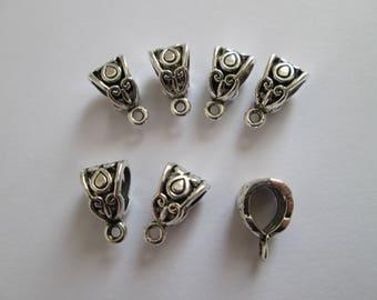 6 bélière support breloque en métal argenté 13 x 8 mm