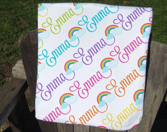 Personalized Baby Blanket with Rainbows - Rainbow Receiving Blanket - Rainbow Name Blanket - Newborn Swaddling Blanket - Baby Photo Prop