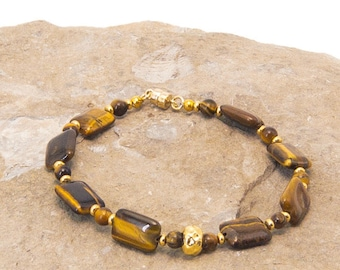 Tiger Eye and Gold Vermeil Bracelet
