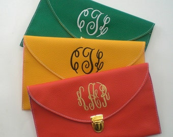 Monogram Clutch Purse Detachable Chain Personalized Custom Embroidery Prom Purse