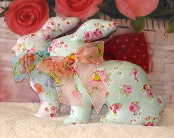 Easter Bunnies. Set of 2 pcs. Shabby chic. Blue and pink. Interior toys. Animal toys. Stuffed toys. Stuffed animals. Soft toys. Handmade.