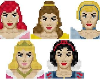 Set of 5 Disney Princess Parody Ornament Cross Stitch Patterns-Ariel, Belle, Cinderella, Aurora and Snow White