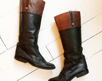 Vintage leather high winter riding boots size 38,5