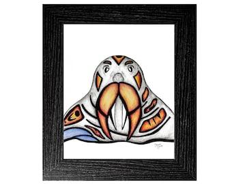 Walrus, Walrus Art, Walrus Gift, Animal Art Original, Fine Art Original, Fine Art Gift, Animal Lover Gift, Canada Art, Original Pen and Ink