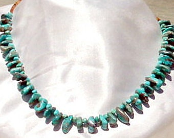Off-set Turquoise Nuggets and Shell Heishi Necklace