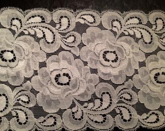 "Wide vintage rose pattern veil lace -white- 5.75"" wide- European"