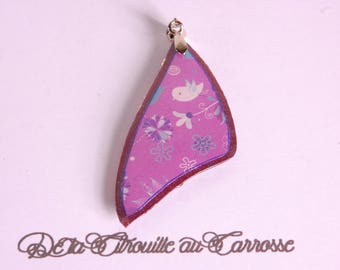 Floral and bird, plum and violet pendant