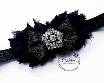 Brenda- Black glitter headband, black shabby headband, glitter headband, black glitter bow headband, glitter bow, black flower headband