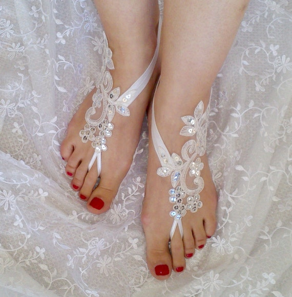 bridal anklet ivory or white Beach wedding barefoot sandals summerfeets