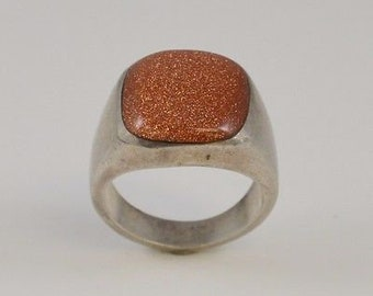Sterling Silver 925 Men's Goldstone Ring Size 9.5