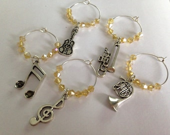 Music Themed Wine Glass Charms