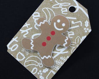 Gift tags, Christmas, gingerbread man, 3D, wrapping, set of 5