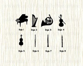 Musical Instrument Car Decal, Piano Decal, Harp Decal, French Horn Decal, Violin Decal, Cello Decal, Flute Decal, Clarinet Decal, Oboe Decal