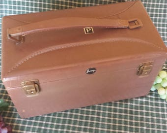 Shortrip 1950s Vintage Brown Carry On Leather Luggage Top Grain Cowhide Travel Toiletries Carrying Case
