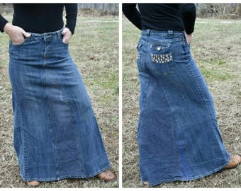 Boho Upcycled Denim Maxi Skirt, Recycled Redesigned Women Jean Skirt, OOAK Refashioned Festival Skirt, Full Length Dark Denim Skirt, Size 7