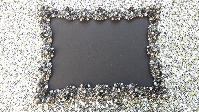 Vintage style black jeweled rhinestone frame bling silver zoom jeuxipadfo Images