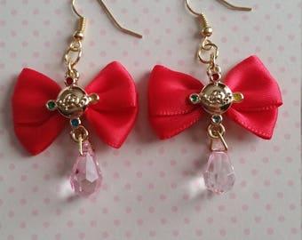 Sailor Moon bow gold earrings