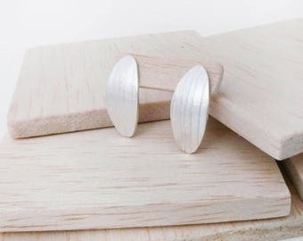 Oval stud earrings, silver stud, elongated oval earrings, silver oval earrings