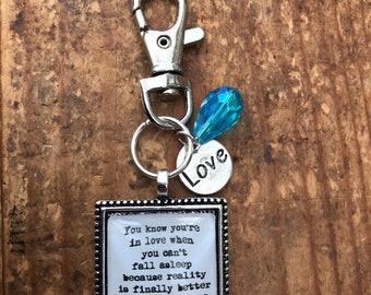 You know you're in love Dr Seuss quote lyric keyring keychain